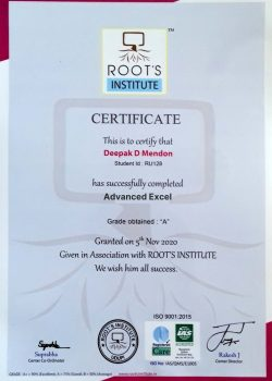 Excel Course Certificate Roots Institute
