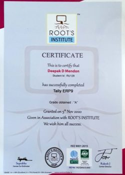 Tally course certificate